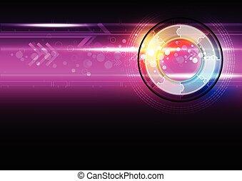 résumé, technologie, bouton, numérique
