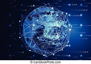 résumé, technologie, concept, moderne, mondiale, lumière bleue, et, numérique, sur, salut technologique, binaire, fond