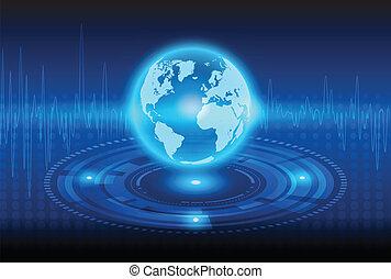 résumé, technologie, globalisation, fond, mécanique