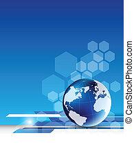 résumé, technologie, globe, fond