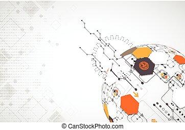 résumé, technologie, sphère, arrière-plan., réseau global, concept.