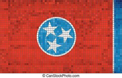 résumé, tennessee drapeau, mosaïque
