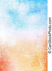 résumé, textured, background:, bleu, jaune, et, rouges, motifs, blanc, toile fond., pour, art, texture, grunge, conception, et, vendange, papier, /, frontière, cadre