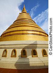 résumé, toit, bangkok, fenêtre, thaïlande, temple