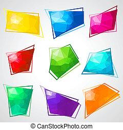 résumé, triangulaire, multicolore, arrière-plan., parole, bulles