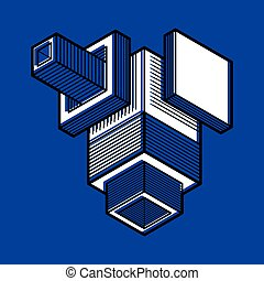 résumé, trigonometric, dimensionnel, vecteur, conception, ...