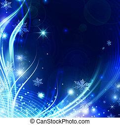 résumé, vacances, flocons neige, et, étoiles, fond