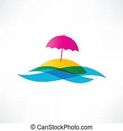 résumé, vacances, plage, icône