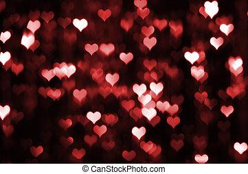 résumé, valentin, fond foncé, cœurs, rouges