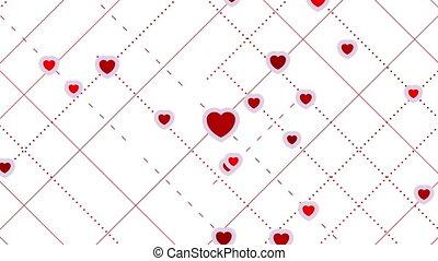 résumé, valentines, rue, animation, vidéo, cœurs, jour, rouges