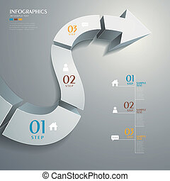 résumé, vecteur, 3d, route, infographics