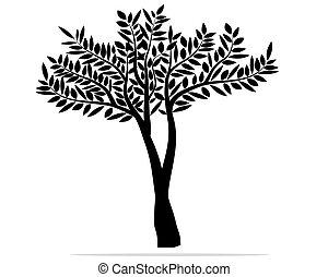 résumé, vecteur, arbre, feuilles