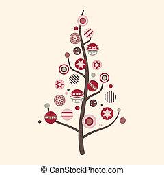 résumé, vecteur, arbre, noël