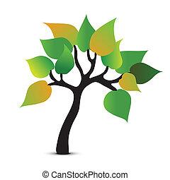 résumé, vecteur, arbre, symbole., icône