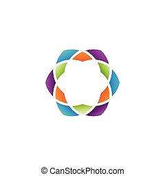 résumé, vecteur, coloré, hexagone