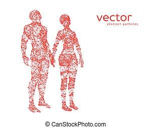 résumé, vecteur, couple., illustration
