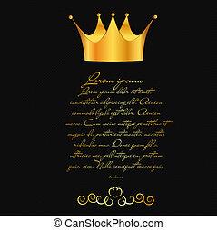 résumé, vecteur, couronne, fond, illustration