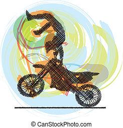 résumé, vecteur, croquis, biker.