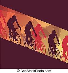 résumé, vecteur, cyclisme, course, homme