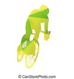 résumé, vecteur, cycliste