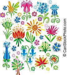 résumé, vecteur, ensemble, fleur