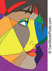 résumé, vecteur, face., illustration, femme
