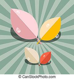 résumé, vecteur, feuilles, illustration, retro
