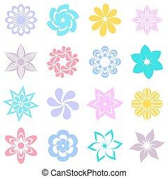 résumé, vecteur, fleur, coloré, icônes