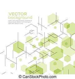 résumé, vecteur, fond, hexagons., illustration