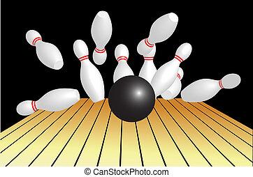 résumé, vecteur, fond, illustration, bowling