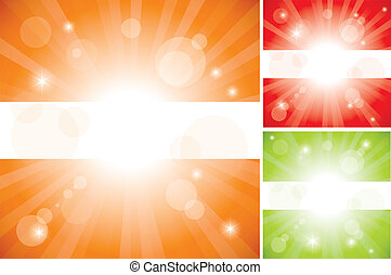 résumé, vecteur, fond, lumière soleil