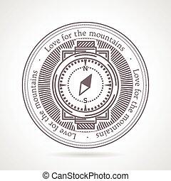 résumé, vecteur, illustration, de, compas, icône, à, texte