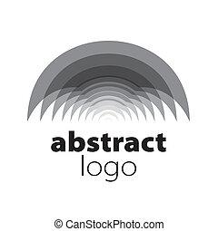 résumé, vecteur, logo, spectre, courbé, feuilles