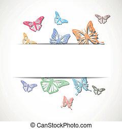 résumé, vecteur, papillons