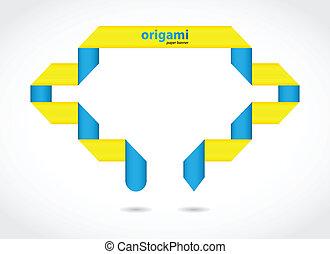 résumé, vecteur, parole, fond, origami, bulle