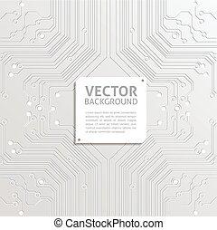 résumé, vecteur, technologie, fond blanc