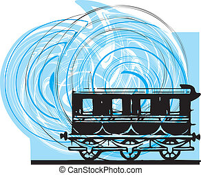 résumé, vecteur, train., illustration
