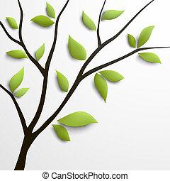 résumé vert, arbre, feuilles