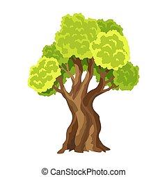 résumé vert, arbre., stylisé, naturel, arbre, foliage., illustration, leafage., aquarelle
