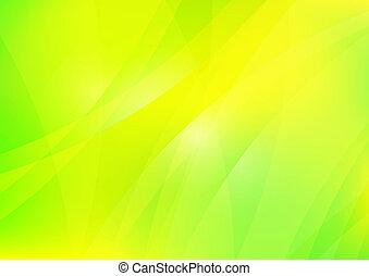 résumé, vert, et, fond jaune, papier peint