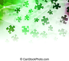 résumé, vert, puzzle, fond