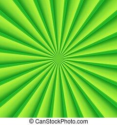résumé vert, rayons, cercle, vecteur, fond