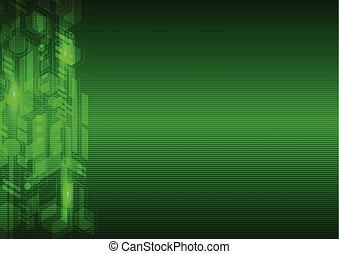 résumé vert, salut technologique, fond