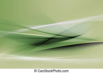 résumé, vert, vagues, fond