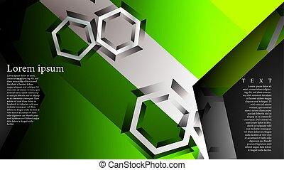 résumé, vert, vecteur, hexagone, fond couleur, pattern., arrière-plan., n'importe quel, illustration, chevaucher