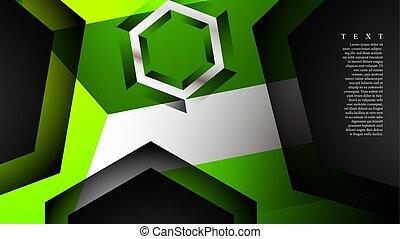 résumé, vert, vecteur, illustration, n'importe quel, couleur, chevaucher, fond, pattern., arrière-plan., hexagone