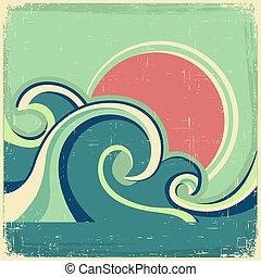 résumé, vieux, soleil, mer, vagues, poster., vecteur, marine...