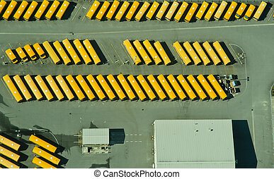 résumé, vue aérienne, de, autobus école, dépôt