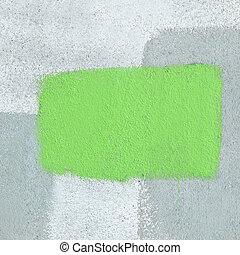 résumé, wall., coloriage vert, arrière-plan., cadre, ciment, peint