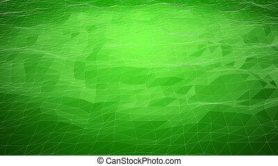 résumé, wireframe, lignes, polygonal, arrière-plan vert, déplacement